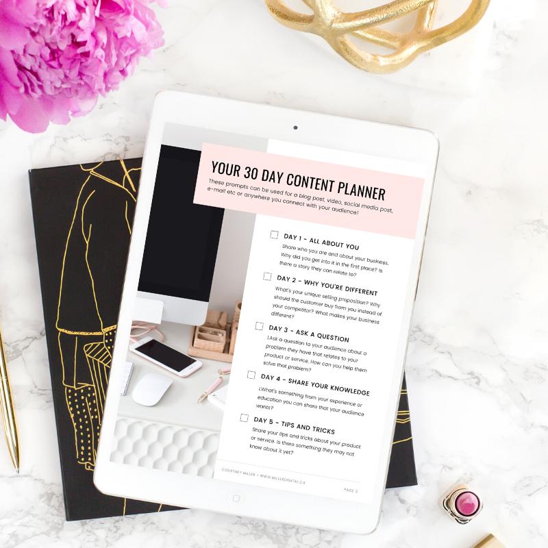 30 Day Content Planner FREEBIE - Miller Digital
